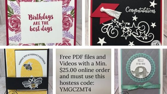 Tuesday's Tips and Techniques Pdf files and videos are free with a min. $25.00 and the use of the current hostess code.  See my blog for details:  https://wp.me/p59VWq-bdK. #thestampcamp