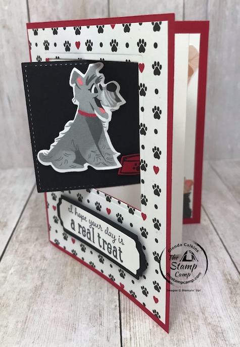 This adorable doggie is part of the Playful Pets Suite of products from Stampin' Up! I created this card for my little granddaughter Sophia who is a total dog lover. The Playful Pets Designer Series Paper can easily be cut with the coordinating Pampered Pets Dies. Details are on my blog here: https://wp.me/p59VWq-bhm. #stampinup #thestampcamp #pamperedpets #funfold