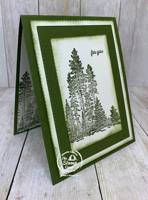 Do you care to take a guess at Which Stampin' Up! Stamp Set has this grouping of trees? When I saw this image I immediately thought of a masculine card and I love the Stitched Rectangle dies. You can create a quick and easy masculine card in no time and the Mossy Meadow ink and card stock color is perfect. Details are on my blog here: https://wp.me/p59VWq-bmi. #masculine #stampinup #thestampcamp #campology