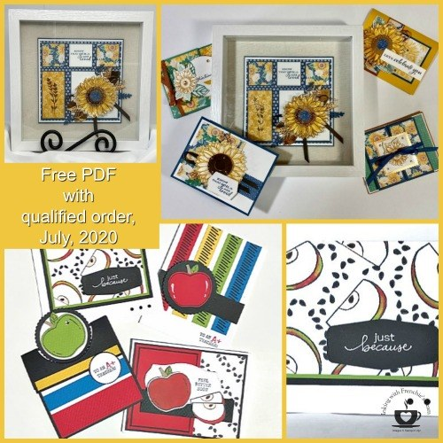 The Customer Appreciation PDF file for July 2020 features the Harvest Hellos and the Celebrate Sunflowers stamp sets. This month's PDF files will give you a jump start on your fall gift giving ideas and cards. Details are on my blog here: https://wp.me/p59VWq-bjw. #stampinup #thestampcamp #harvesthellos #celebratesunflowers
