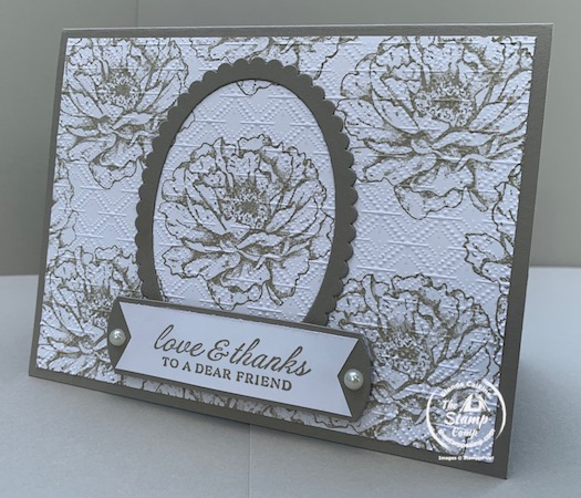 Have you ever created your own designer series paper? Have you ever thought about spotlighting your designer series paper that you created? Well that is what I did with my featured stamp set for July 2020 The Prized Peony stamp set/bundle. Details on this technique can be found on my blog here: https://wp.me/p59VWq-bmr. #stampinup #technique #thestampcamp #prizedpeony