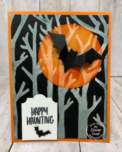 Tuesday's Tips and Techniques this week features the Shimmer White Embossing Paste with the Basic Pattern Decorative Masks. I chose the Spooky Trees Mask and paired it with the Halloween Magic Dies and the Banner Year stamp set. Details are on my blog here: https://wp.me/p59VWq-btZ. #stampinup #halloween #embossingpaste #thestampcamp