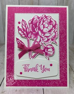What do you think about Monochromatic cards? Yay or Nay? How about the Magenta Madness color Yay or Nay? I personally really like Monochromatic cards and this card came about from some left over pieces for other cards. Don't you love it when that happens? Check out my blog here for details: https://wp.me/p59VWq-bup. #stampinup #thestampcamp #incolor #prizedpeony