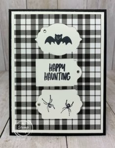 The Trio of Tags Dies can create an interesting focal point for your stamped images. This super cute card is monochromatic and perfect for Halloween. Details are on my blog here: https://wp.me/p59VWq-btG. #stampinup #halloween #thestampcamp #dies