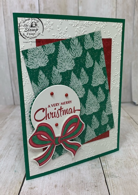 This card was created for the sketch challenge at the Paper Craft Crew PCC396. I used the Gift Wrapped Bundle and the Tis the Season Designer Series Papers; which are 15% off this month October 2020. Details are on my blog here: https://wp.me/p59VWq-bxi. #stampinup #tistheseason #thestampcamp #christmas