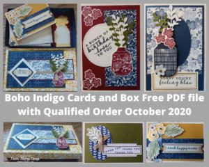 The Customer Appreciation PDF file for October is all about the Boho Indigo Products. This month you will be able to create a box with 4 coordinating cards and a spot for some tags. Details can be found on my blog here: https://wp.me/p59VWq-bv3. #stampinup #thestampcamp #designerpaper