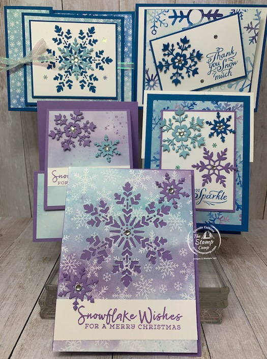 My featured stamp set for October 2020 is the Snowflake Wishes Bundle with the Snowflake Splendor Designer Series Paper; which by the way is 15% off this month. October is Designer Series Paper Sale at Stampin' Up. See my blog here for all the details: https://wp.me/p59VWq-bv3. #stampinup #thestampcamp #designerpaper