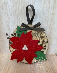 Make your own ornaments this year for yourself or to give as a gift. It is the season to create and share from home. These wooden ornaments turned out so beautiful and will be enjoyed for years to come. #stampinup #thestampcamp #ornament #DIY