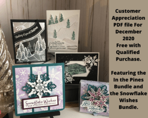 In the Pines and Snowflake Wishes are the stamp sets for the December Customer Appreciation PDF file. The PDF file is free with a min. $30.00 order and use the December 2020 Host Code. #stampinup #thestampcamp #Christmas