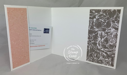 The Festive Post stamp set makes a great set to use for a Wedding or Anniversary Gift Card or Money Holder. The Peony Garden Designer Series Papers help to pull off this beautiful Gift Card or Money Holder. #thestampcamp #stampinup #peonygarden #moneyholder