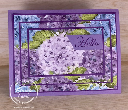 Isn't this Hydrangea Hill Designer Series Paper the prettiest paper you have ever seen? I love it and it is from the New January - June 2021 Mini catalog from Stampin' Up! I used it to create this Triple Time Technique. #stampinup #thestampcamp #tripletime #technique