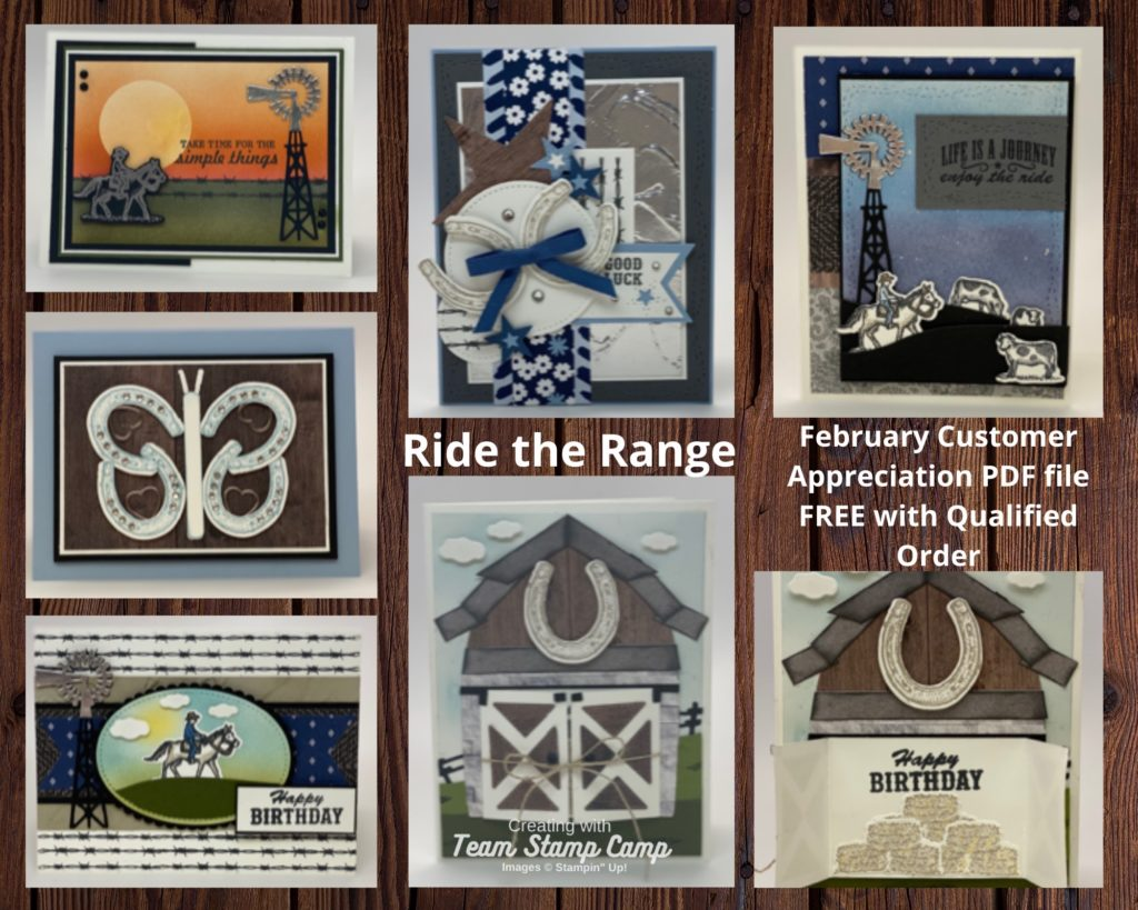The February Customer Appreciation PDF file features the Ride the Range stamp set/bundle from the January - June 2021 mini catalog. This fun stamp set has some awesome coordinating dies to help you create fun cards or scrapbook pages. #thestampcamp #ridetherange #stampinup