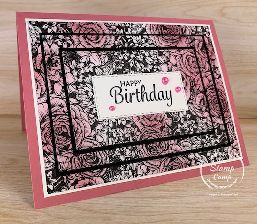 The new True Love Designer Series Paper is great to use with so many different techniques. It can be used as is or add a pop of color using the new Blending Brushes. This is the Triple Time Technique with Designer Paper. #stampinup #thestampcamp #glendasblog #tripletime