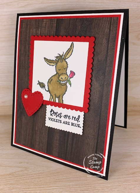 The Sale-a-bration Darling Donkeys will create a fun and pretty card for Valentine's Day, an Anniversary or Birthday. This is a free set with a min. $50.00 order is placed. #thestampcamp #stampinup #darlingdonkeys #saleabration