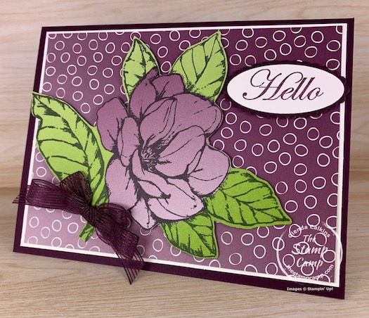 I did a bit of paper piecing on this card because I wanted to use the Oh So Ombre Designer Series Paper with the big flower from the Good Morning Magnolia stamp set. I thought it would have more of an ombre look to it but I still think it turned out quite pretty. #thestampcamp #stampinup #ombre #saleabration