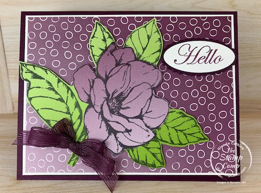 I did a bit of paper piecing on this card but I wanted to use the Oh So Ombre Designer Series Paper with the big flower from the Good Morning Magnolia stamp set. I thought it would have more of an ombre look to it but I still think it turned out quite pretty. #thestampcamp #stampinup #ombre #saleabration