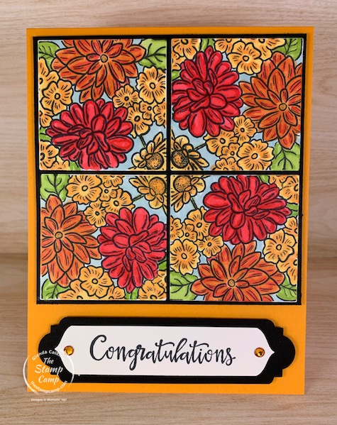 Here's a fun new technique for you to try. It is called Kaleidoscope Squares. I used the Ornate Garden stamp set to create this card. Visit my blog for more details. #thestampcamp #stampinup #technique #ornategarden