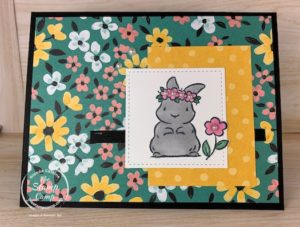 Saturday Sketch with Springtime Joy stamp set from Stampin' Up! I think the little bunny from this stamp set goes perfectly with the FREE Flower & Field Designer Series Papers. #stampinup #thestampcamp #saturdaysketch
